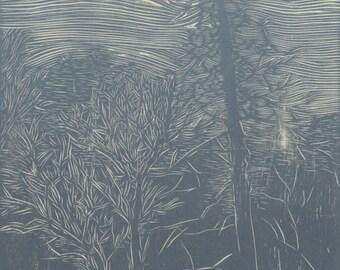 Snag, Hand Printed Wood Engraving
