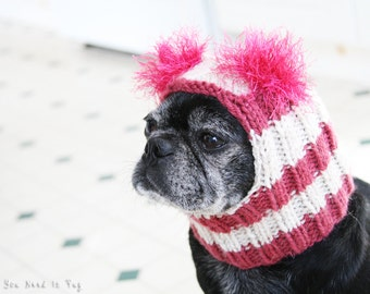 Custom Snuggly Dog Hat - The Original Pug Hat - Dog Beanie - Pet Hat - Pug Hats - Dog Hats