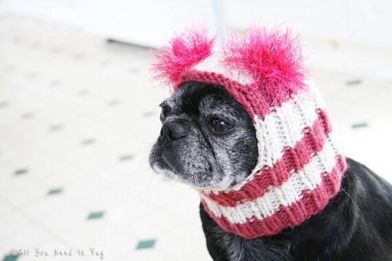 Custom Snuggly Dog Hat - The Original Pug Hat - Dog Beanie - Pet Hat - Pug Hats - Dog Hats