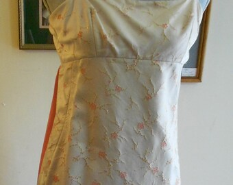 """1960's, 32"""" bust, light gold and pink  silk brocade Empire style gown"""