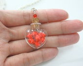Mini Red Origami Lucky Stars in Tiny Heart Love Glass Jar Necklace
