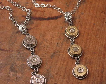 Bullet Casing Jewelry - Triple 9mm Pendant Necklace - Mother's Necklace - Bullet Designs - Country Wedding Jewelry