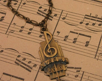 Upcycled Jewelry - Music Jewelry - Treble Clef Medallion Necklace - New York State School Music Association - Vintage Music Award