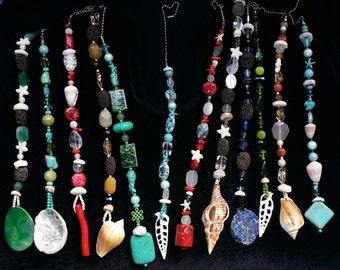 Beaded Overhead Fan Pull, Ceiling Fan Pull, Light Fixtures, Custom Design, Beads, Seashells, Beach Glass, Chain Pull, Home Decor, Art