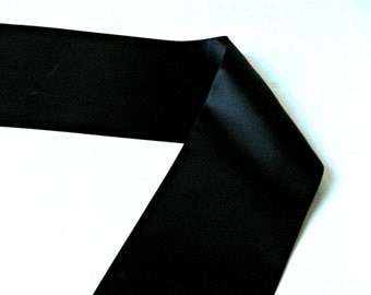 Black Satin Ribbon, 4 inch wide double faced for DIY craft supplies by the 1, 2, or 5 yards
