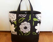 Reserved for Renee MEDIUM PBT perfect for your Bible, Journal, Study guides and Binder.  Modern Green Black Floral Black Canvas Snap close