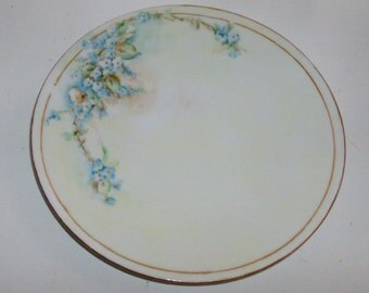 Blue Forget-Me-Not Hand Painted Luncheon Plate