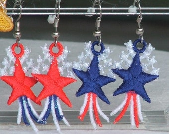 Earrings, Patriotic, Star, Independence Day, July 4th, red white and blue dangle READY TO SHIP