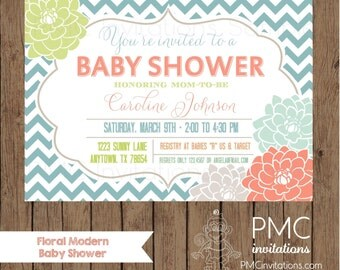 Custom Printed  Chevron Floral Baby Shower Invitations - 1.00 each with envelope