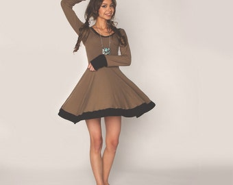 Long Sleeve High Waisted Tea Dress