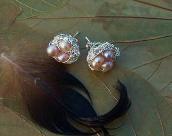 Magpie Nest Post Earrings - Pink Freshwater Pearl Birds Nests
