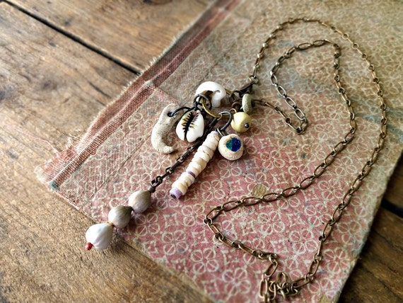 The Bones of the Earth - tribal assemblage necklace - talisman charm of found objects - modern tribal - for Wildthorne