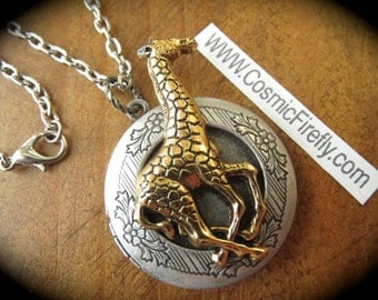 Giraffe Locket Necklace Vintage Inspired Gothic Victorian Animal Jewelry Mixed Metals Silver & Brass Long Chain Steampunk Style