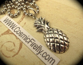 Antiqued Silver Pineapple Necklace Vintage Style Silver Plated Metal Steampunk Necklace Tiki Necklace Pineapple Charm Includes Ball Chain