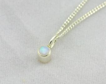 Birthstone Drop Necklace (Opal) Sterling Silver