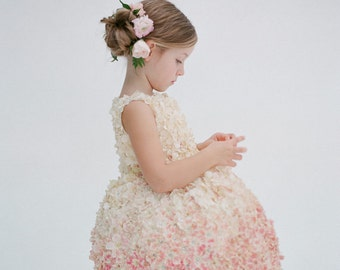 Blush Ombre Textured Flower Girl Dress- The Pamela (More Colors Available)