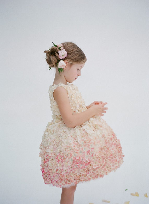 blush ombre textured flower girl dress the more