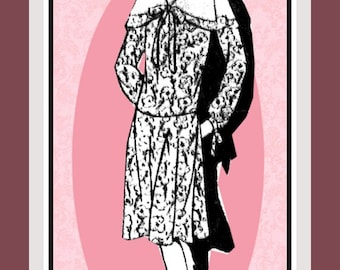 Vintage 1920s- Late Afternoon Dropped Waist Frock- Sewing Pattern-Dramatic Caplet Collar-Flared Skirt-Tie Bows-Size 18-Rare-Collectible