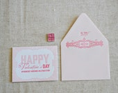 Happy Valentines Day Hashtag Love Letterpress Greeting Card