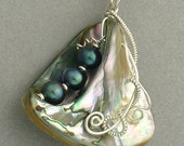 Sterling Silver, Abalone and Pearls Pendant