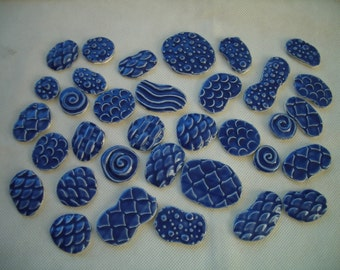 T34 - 34 pc THINNER for GLASS - Stamped Circles - Ceramic Mosaic Tile Set