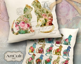 Two Digital Images FLORAL GARDEN CATS Printable Download to print on fabric or paper for Iron On Transfer, tote bags, pillows, Home Decor