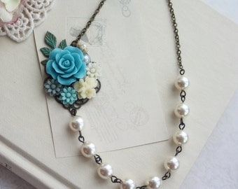 Turquoise Blue Rose, Grey Blue, Aqua Blue, Ivory, Leaf, Pearl, Collage Flower Necklace. Rustic Blue Wedding. Bridesmaid Gift. Something Blue