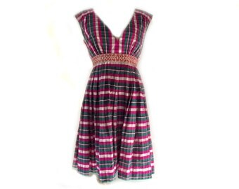 90s Silk Dress / Vintage Inspired Party Dress / Plaid n Pleated / Magenta Green / Sz S Sz M / Spring Fashion