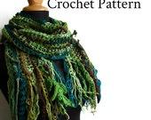 Crochet Pattern for Gypsy Scarf Rag scarf Boho Multicolored