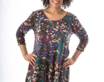 Long Trapeze Top - 3/4 Sleeve