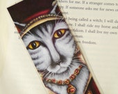 Catherine Parr Cat Bookmark, Tudor Cats, King Henry VIII Wives Silver Tabby Cat