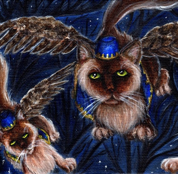 Flying Monkey Cats, Wizard of Oz Cats Series, Winged Cats 8x10 Art Print
