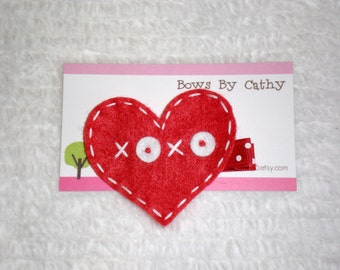Red Heart Hair Clip - Valentine's Day Felt Hair Clip