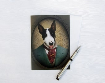 Bull Terrier Art Greeting Cards 5x7 Dog Card White Backdrop Stationery Animal Photography Pet Portrait Note Card - Magnum