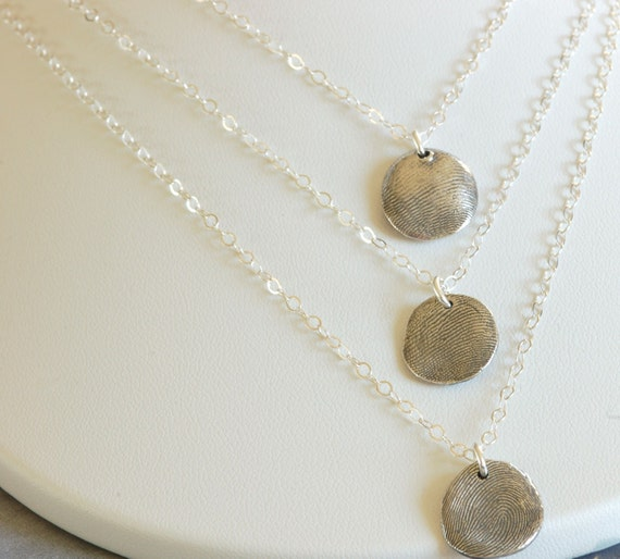Brother and Sister Layered Thumbprint Charm Necklace