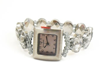 Smoky Metallic Faceted Glass Beaded Stretchy Bracelet Watch with Pewter Watch Face