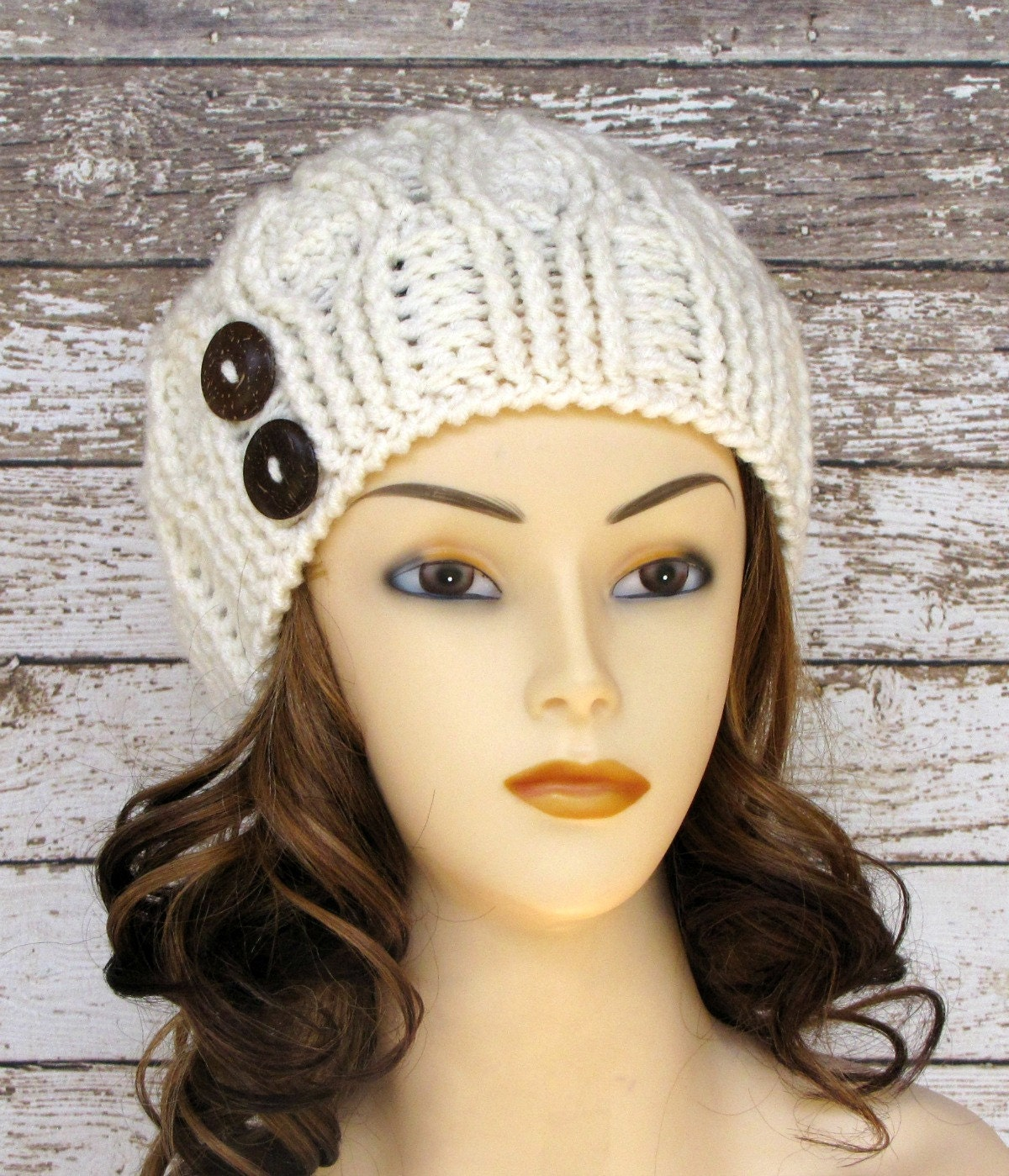 Ivory Women's Winter Hat Off White Ladies Cabled Cloche
