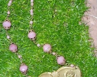 Antique Art Nouveau Necklace--Pink Glass