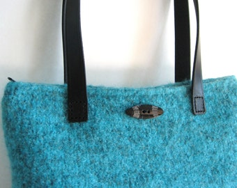 Turquoise Boucle Purse Wool Hand Knitted Felted Custom Lined