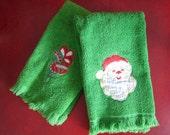 Vintage Green Christmas Hand Towel Set 2 - Santa Head & Holiday Ornaments