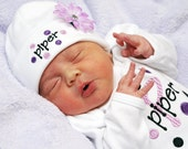 Baby Girl Personalized Polka Dot Gown and Beanie Hat Set with Crystal Flower