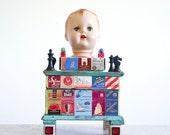 Mixed Media Art Assemblage - Found Objects Trinket Box