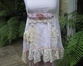 Vintage Kitty.. grungy hand dyed TEA collection.... muslin tunic.... doilies and vintage needlework, lace, roses, shabby chic... MED/XL