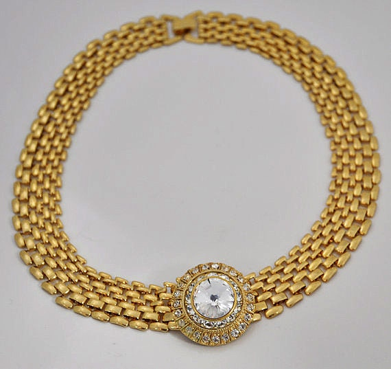 1980s Gold Plated Panther Chain and Oversized White Rhinestone Choker Necklace