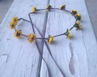 Sunflower Headband realistic mini silk flowers yellow summer hair wreath Woodland crown bridal party wedding accessories simple minimalist