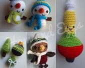 PDF Amigurumi Crochet Christmas Ornament Set Includes Smiley Snowmen, Winter Robin, Vintage Bubble Light and Tiny Ornament Trio- Great Deal