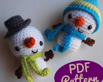 Amigurumi Crochet Smiley Snowman Stocking Stuffer or Christmas Ornament PDF Pattern
