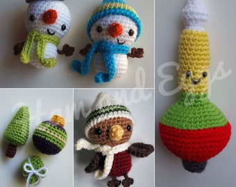 PDF Amigurumi Crochet Christmas Ornament Set Includes Smiley Snowmen, Winter Robin, Vintage Bubble Light and Tiny Ornament Trio- Great Deal