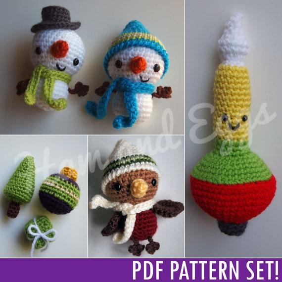 PDF Amigurumi Crochet Christmas Ornament Set Includes Smiley
