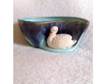 Vintage Ceramic Swan Planter Japan